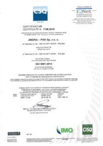 Producent opakowań Andrapak  - certyfikaty i nagrody